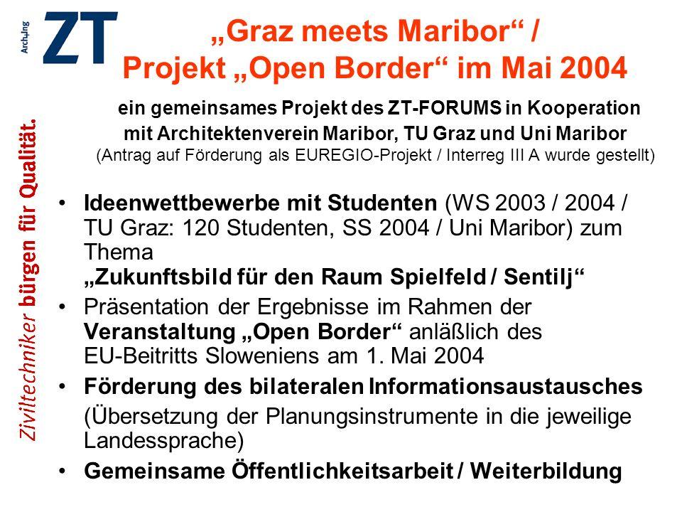 Graz meets Maribor / Projekt Open Border im Mai 2004 ein gemeinsames Projekt des ZT-FORUMS in Kooperation mit Architektenverein Maribor, TU Graz und U