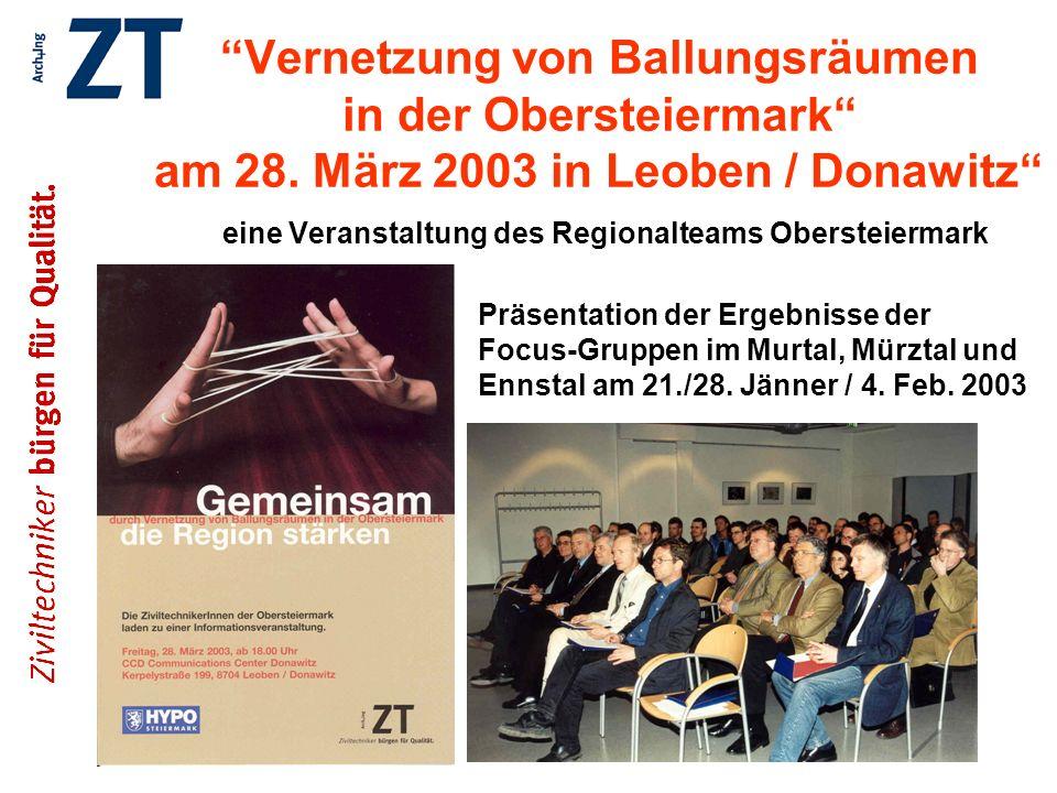 Vernetzung von Ballungsräumen in der Obersteiermark am 28. März 2003 in Leoben / Donawitz eine Veranstaltung des Regionalteams Obersteiermark Präsenta