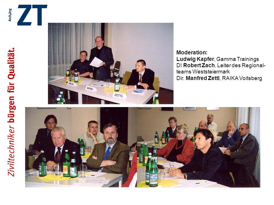 Moderation: Ludwig Kapfer, Gamma Trainings DI Robert Zach, Leiter des Regional- teams Weststeiermark Dir. Manfred Zettl, RAIKA Voitsberg