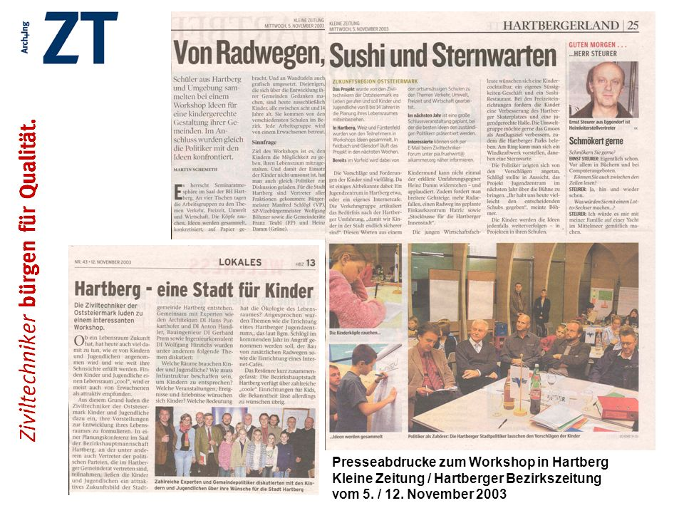 Presseabdrucke zum Workshop in Hartberg Kleine Zeitung / Hartberger Bezirkszeitung vom 5. / 12. November 2003