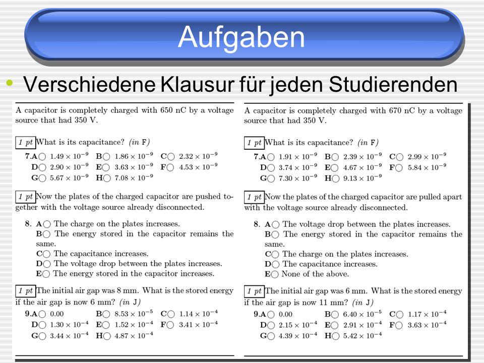 Aufgaben Verschiedene Klausur für jeden Studierenden