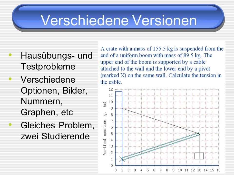 4 Hausübungs- und Testprobleme Verschiedene Optionen, Bilder, Nummern, Graphen, etc Gleiches Problem, zwei Studierende Verschiedene Versionen