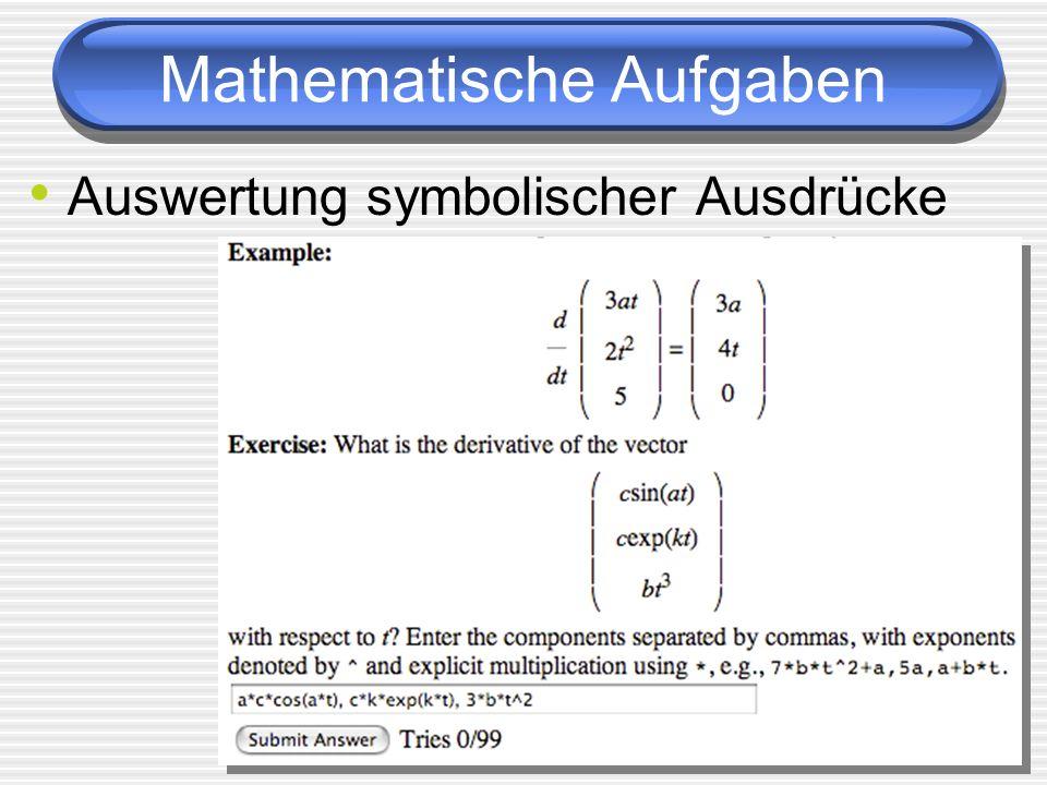 Mathematische Aufgaben Auswertung symbolischer Ausdrücke