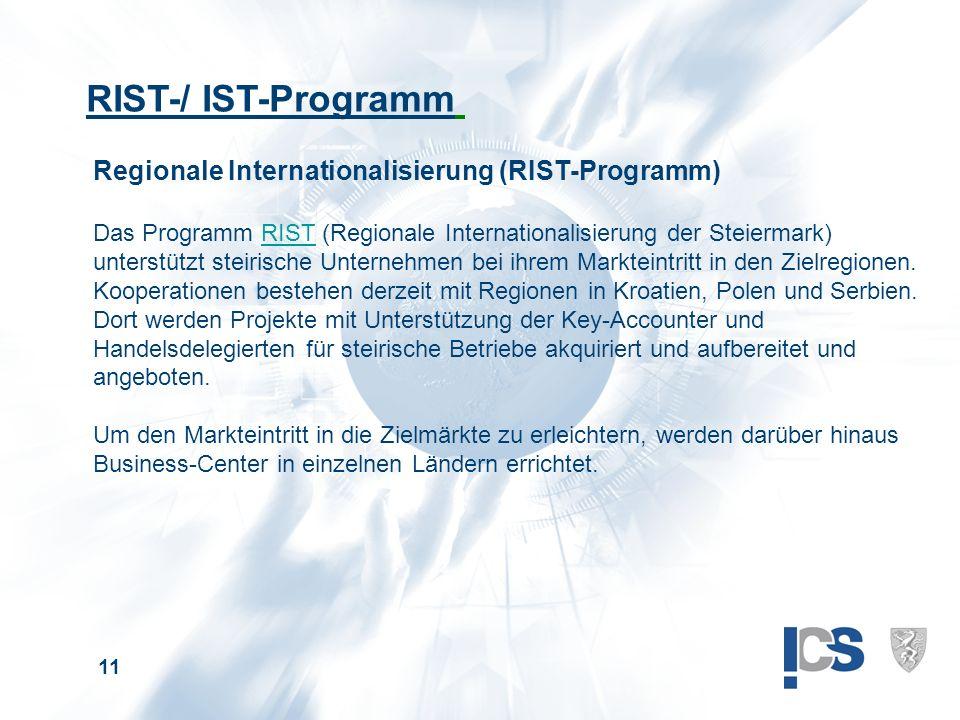 11 RIST-/ IST-Programm Regionale Internationalisierung (RIST-Programm) Das Programm RIST (Regionale Internationalisierung der Steiermark) unterstützt steirische Unternehmen bei ihrem Markteintritt in den Zielregionen.