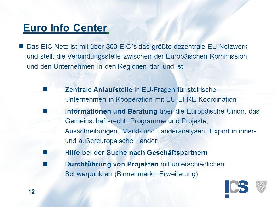 12 Euro Info Center nDas EIC Netz ist mit über 300 EIC´s das größte dezentrale EU Netzwerk und stellt die Verbindungsstelle zwischen der Europäischen Kommission und den Unternehmen in den Regionen dar, und ist nZentrale Anlaufstelle in EU-Fragen für steirische Unternehmen in Kooperation mit EU-EFRE Koordination nInformationen und Beratung über die Europäische Union, das Gemeinschaftsrecht, Programme und Projekte, Ausschreibungen, Markt- und Länderanalysen, Export in inner- und außereuropäische Länder nHilfe bei der Suche nach Geschäftspartnern nDurchführung von Projekten mit unterschiedlichen Schwerpunkten (Binnenmarkt, Erweiterung)