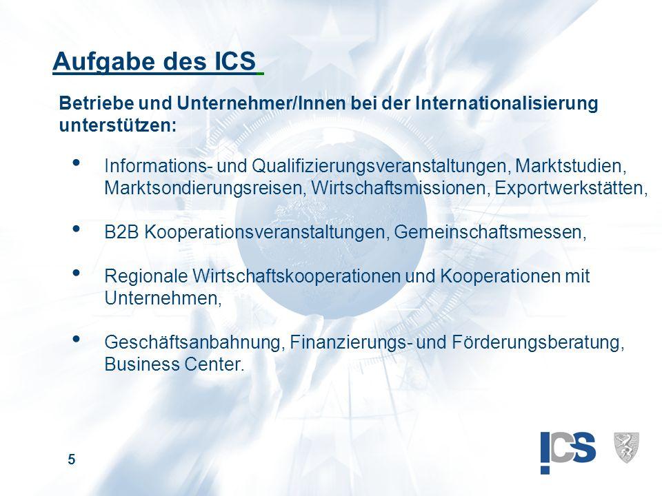 5 Betriebe und Unternehmer/Innen bei der Internationalisierung unterstützen: Aufgabe des ICS Informations- und Qualifizierungsveranstaltungen, Marktstudien, Marktsondierungsreisen, Wirtschaftsmissionen, Exportwerkstätten, B2B Kooperationsveranstaltungen, Gemeinschaftsmessen, Regionale Wirtschaftskooperationen und Kooperationen mit Unternehmen, Geschäftsanbahnung, Finanzierungs- und Förderungsberatung, Business Center.