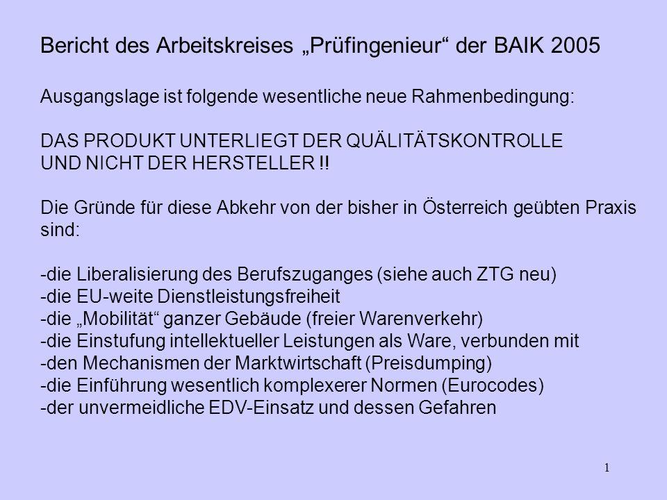 1 Bericht des Arbeitskreises Prüfingenieur der BAIK 2005 Ausgangslage ist folgende wesentliche neue Rahmenbedingung: DAS PRODUKT UNTERLIEGT DER QUÄLITÄTSKONTROLLE UND NICHT DER HERSTELLER !.