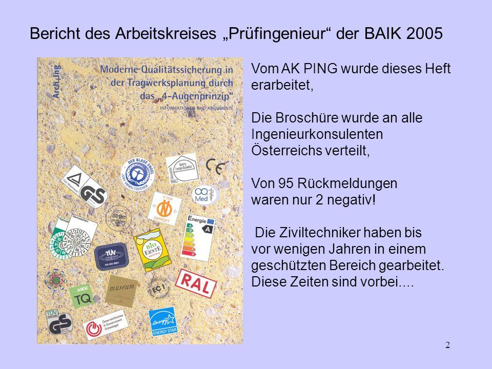 2 Bericht des Arbeitskreises Prüfingenieur der BAIK 2005 Vom AK PING wurde dieses Heft erarbeitet, Die Broschüre wurde an alle Ingenieurkonsulenten Österreichs verteilt, Von 95 Rückmeldungen waren nur 2 negativ.