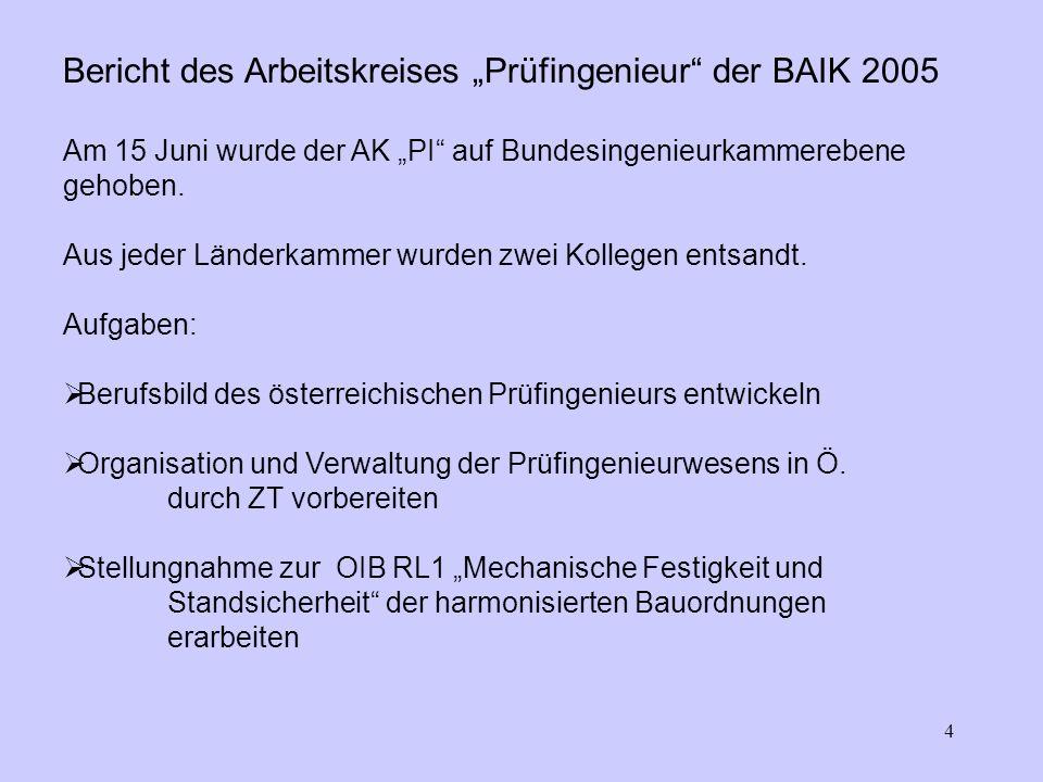 4 Bericht des Arbeitskreises Prüfingenieur der BAIK 2005 Am 15 Juni wurde der AK PI auf Bundesingenieurkammerebene gehoben.