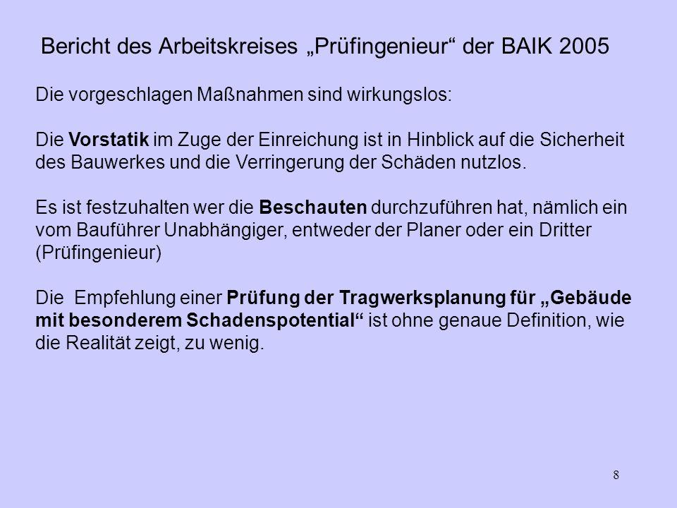 8 Bericht des Arbeitskreises Prüfingenieur der BAIK 2005 Die vorgeschlagen Maßnahmen sind wirkungslos: Die Vorstatik im Zuge der Einreichung ist in Hinblick auf die Sicherheit des Bauwerkes und die Verringerung der Schäden nutzlos.