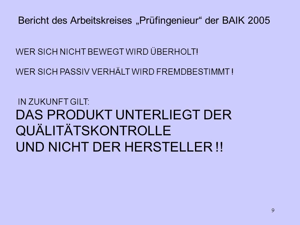 9 Bericht des Arbeitskreises Prüfingenieur der BAIK 2005 WER SICH NICHT BEWEGT WIRD ÜBERHOLT.