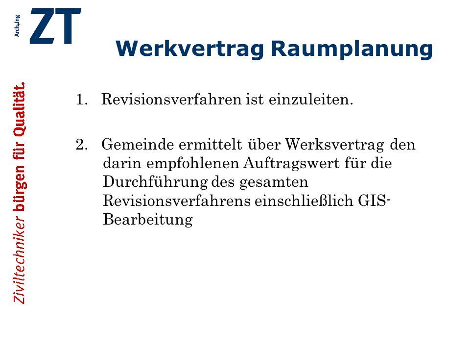 Werkvertrag Raumplanung 1. Revisionsverfahren ist einzuleiten.