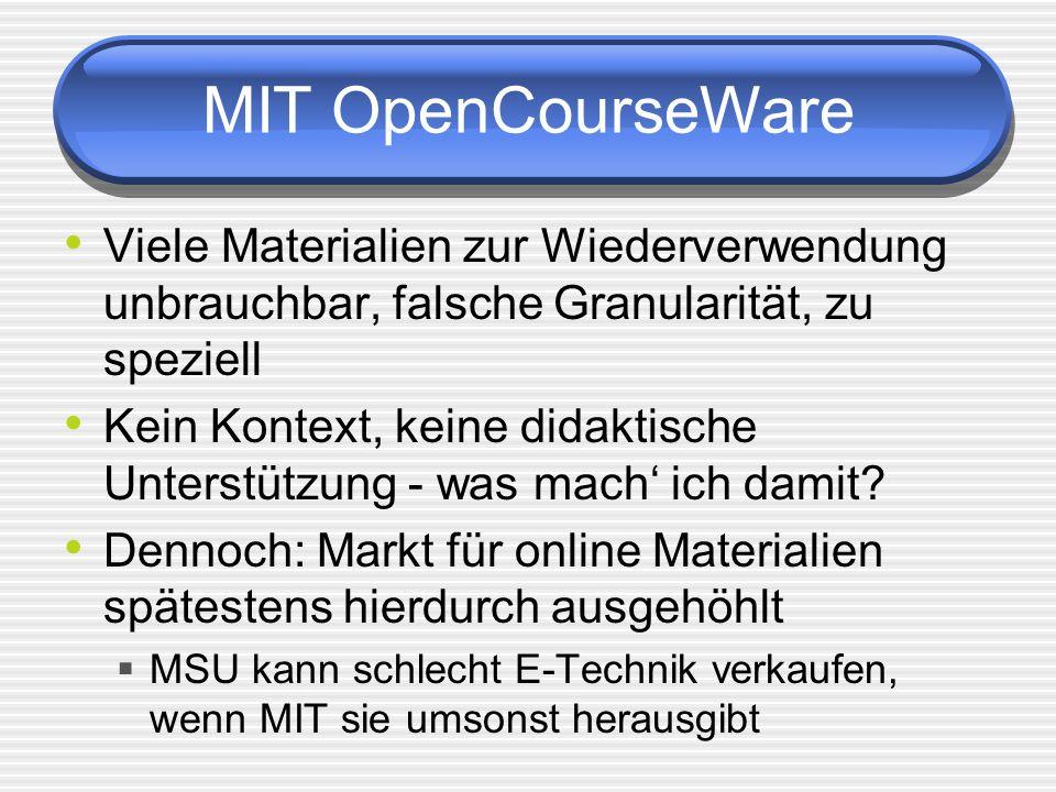 MIT OpenCourseWare Viele Materialien zur Wiederverwendung unbrauchbar, falsche Granularität, zu speziell Kein Kontext, keine didaktische Unterstützung - was mach ich damit.