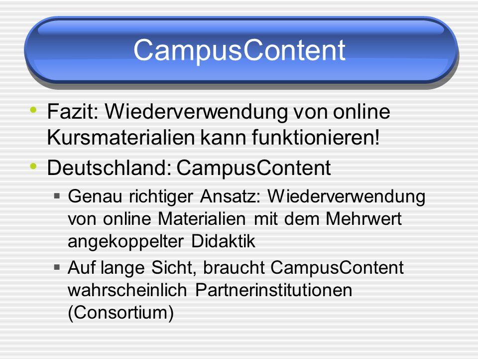 CampusContent Fazit: Wiederverwendung von online Kursmaterialien kann funktionieren! Deutschland: CampusContent Genau richtiger Ansatz: Wiederverwendu
