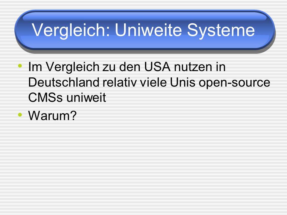 Vergleich: Uniweite Systeme Im Vergleich zu den USA nutzen in Deutschland relativ viele Unis open-source CMSs uniweit Warum?