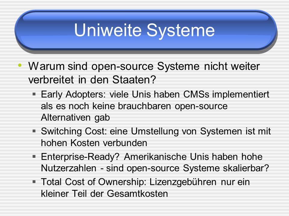 Uniweite Systeme Warum sind open-source Systeme nicht weiter verbreitet in den Staaten? Early Adopters: viele Unis haben CMSs implementiert als es noc