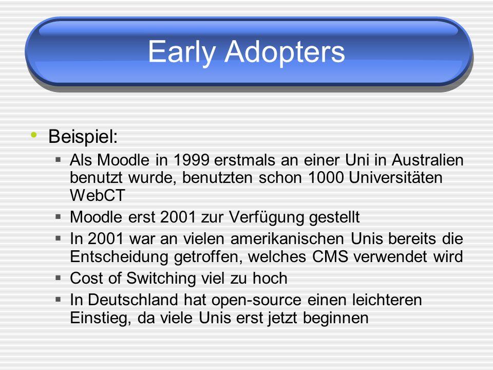 Early Adopters Beispiel: Als Moodle in 1999 erstmals an einer Uni in Australien benutzt wurde, benutzten schon 1000 Universitäten WebCT Moodle erst 2001 zur Verfügung gestellt In 2001 war an vielen amerikanischen Unis bereits die Entscheidung getroffen, welches CMS verwendet wird Cost of Switching viel zu hoch In Deutschland hat open-source einen leichteren Einstieg, da viele Unis erst jetzt beginnen