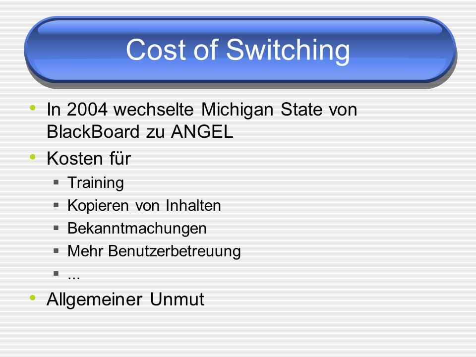 Cost of Switching In 2004 wechselte Michigan State von BlackBoard zu ANGEL Kosten für Training Kopieren von Inhalten Bekanntmachungen Mehr Benutzerbet