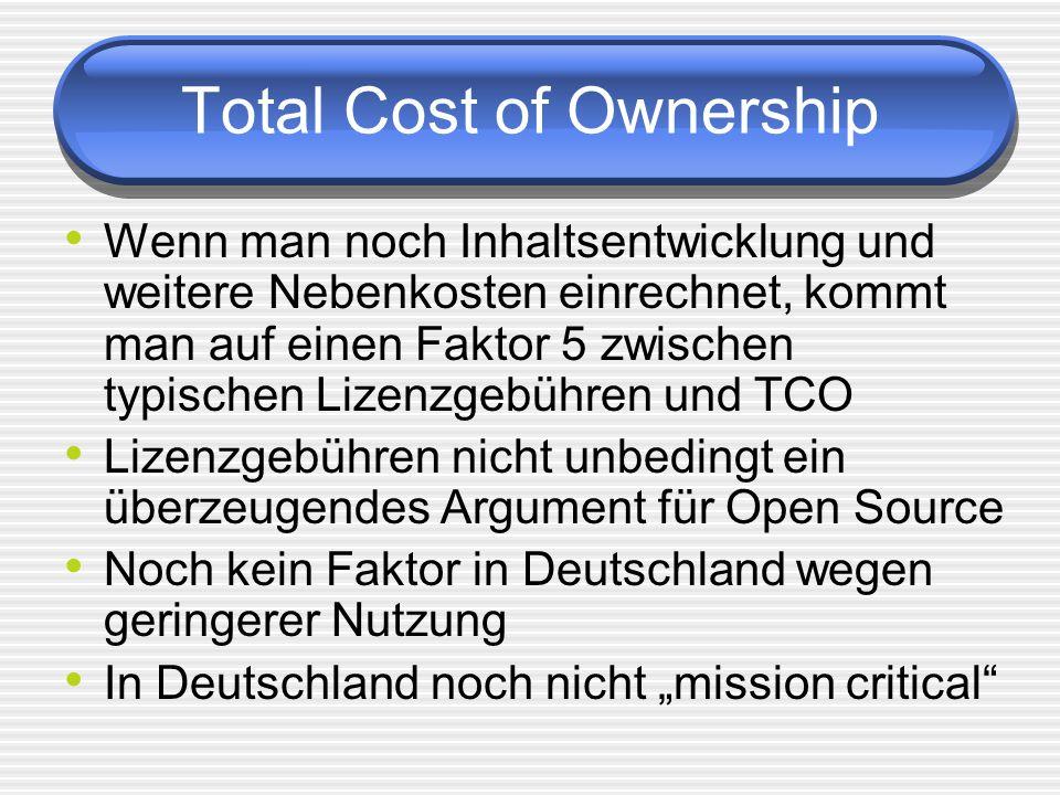 Total Cost of Ownership Wenn man noch Inhaltsentwicklung und weitere Nebenkosten einrechnet, kommt man auf einen Faktor 5 zwischen typischen Lizenzgebühren und TCO Lizenzgebühren nicht unbedingt ein überzeugendes Argument für Open Source Noch kein Faktor in Deutschland wegen geringerer Nutzung In Deutschland noch nicht mission critical