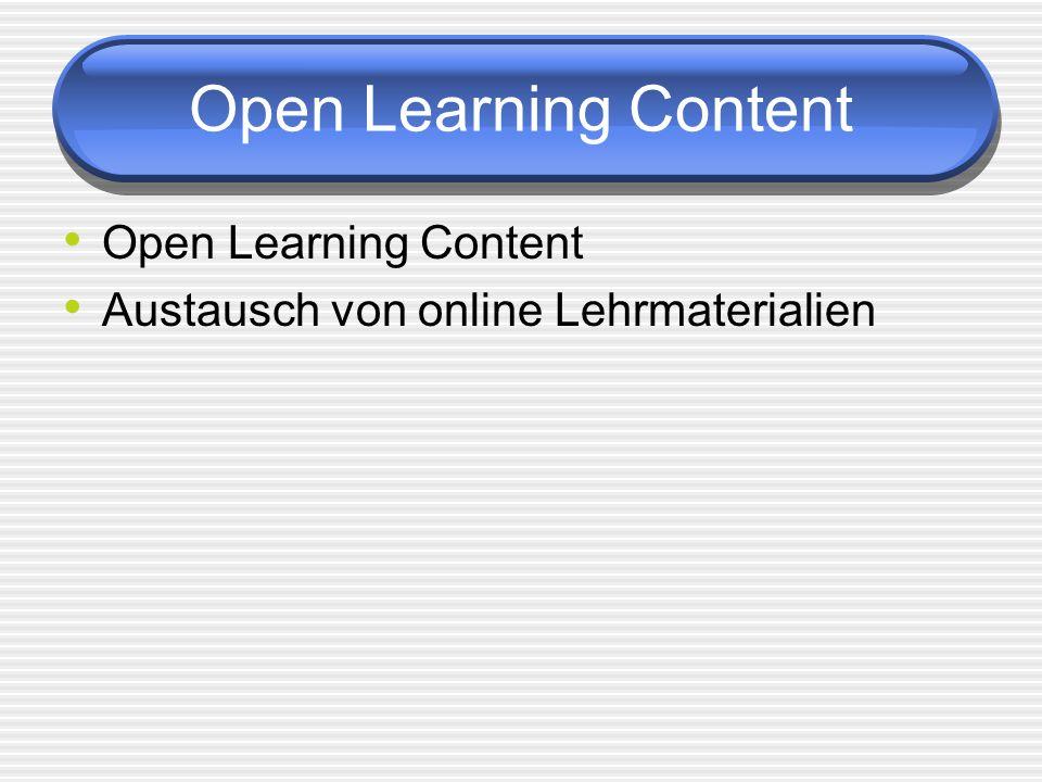Open Learning Content Austausch von online Lehrmaterialien