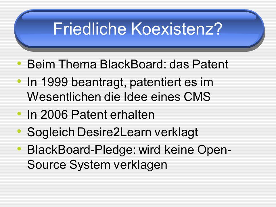 Friedliche Koexistenz? Beim Thema BlackBoard: das Patent In 1999 beantragt, patentiert es im Wesentlichen die Idee eines CMS In 2006 Patent erhalten S