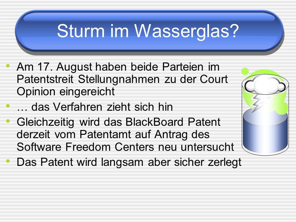 Sturm im Wasserglas? Am 17. August haben beide Parteien im Patentstreit Stellungnahmen zu der Court Opinion eingereicht … das Verfahren zieht sich hin