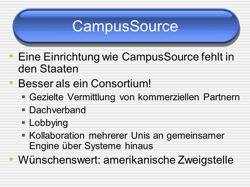 CampusSource Eine Einrichtung wie CampusSource fehlt in den Staaten Besser als ein Consortium! Gezielte Vermittlung von kommerziellen Partnern Dachver