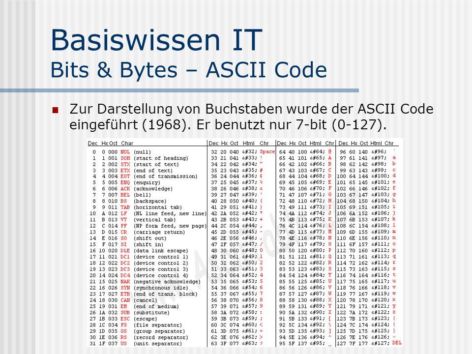 Basiswissen IT Bits & Bytes – ASCII Code Zur Darstellung von Buchstaben wurde der ASCII Code eingeführt (1968).