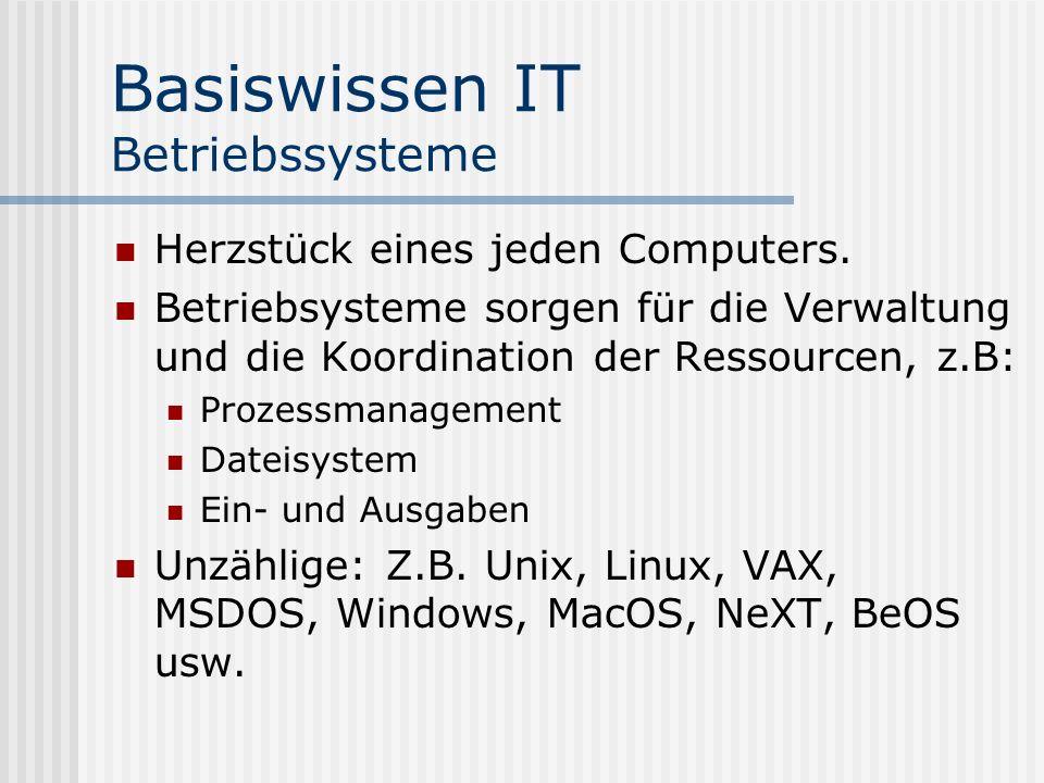 Basiswissen IT Betriebssysteme Herzstück eines jeden Computers. Betriebsysteme sorgen für die Verwaltung und die Koordination der Ressourcen, z.B: Pro