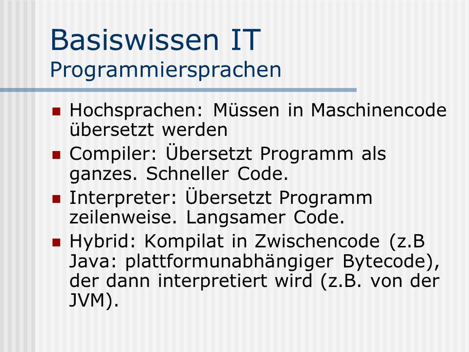 Basiswissen IT Programmiersprachen Hochsprachen: Müssen in Maschinencode übersetzt werden Compiler: Übersetzt Programm als ganzes. Schneller Code. Int