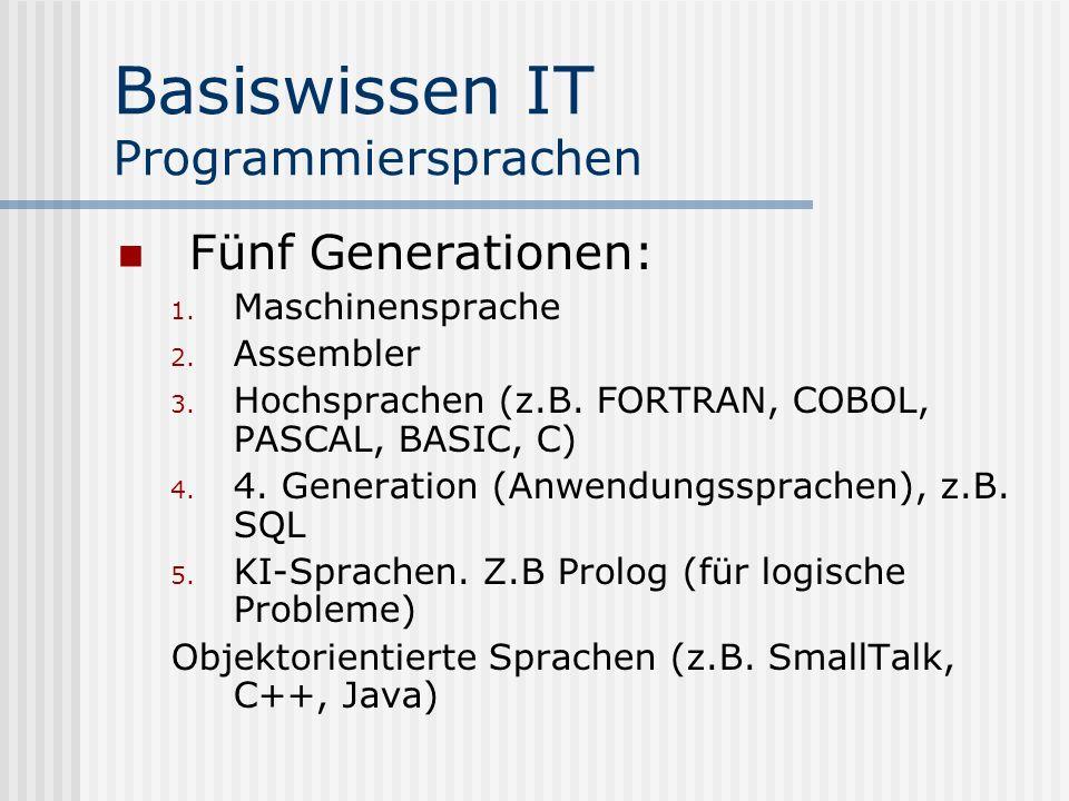 Basiswissen IT Programmiersprachen Fünf Generationen: 1. Maschinensprache 2. Assembler 3. Hochsprachen (z.B. FORTRAN, COBOL, PASCAL, BASIC, C) 4. 4. G
