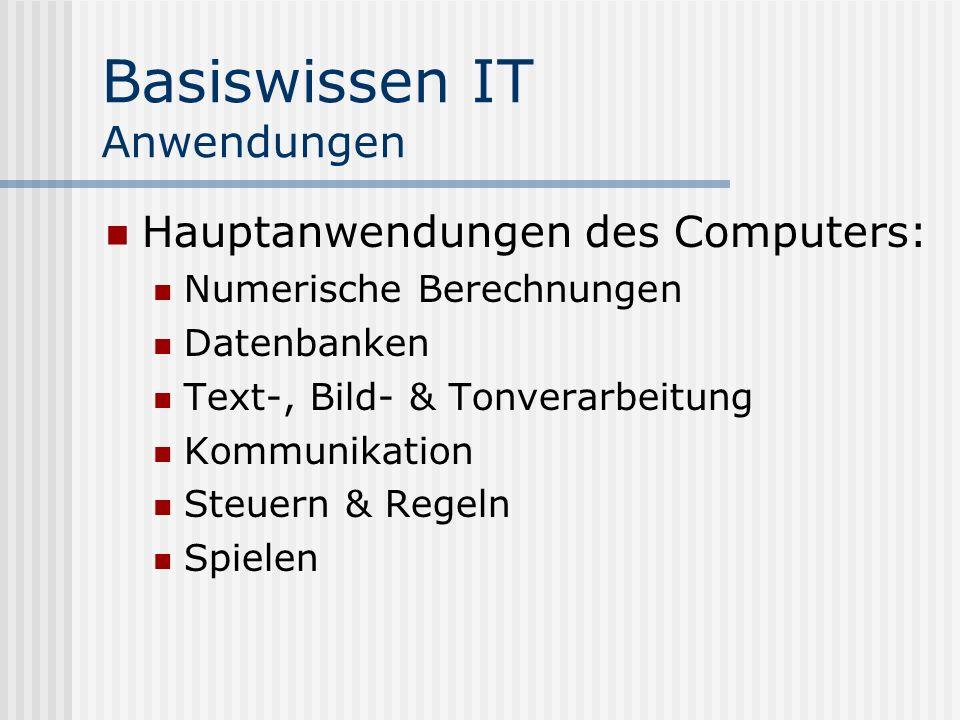 Basiswissen IT Anwendungen Hauptanwendungen des Computers: Numerische Berechnungen Datenbanken Text-, Bild- & Tonverarbeitung Kommunikation Steuern & Regeln Spielen