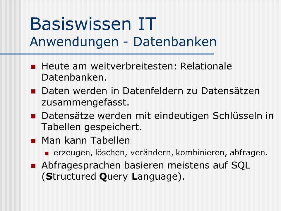 Basiswissen IT Anwendungen - Datenbanken Heute am weitverbreitesten: Relationale Datenbanken. Daten werden in Datenfeldern zu Datensätzen zusammengefa