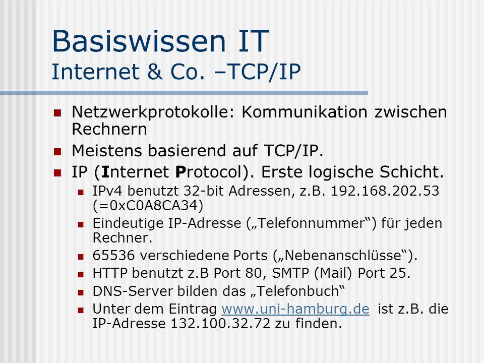 Basiswissen IT Internet & Co. –TCP/IP Netzwerkprotokolle: Kommunikation zwischen Rechnern Meistens basierend auf TCP/IP. IP (Internet Protocol). Erste