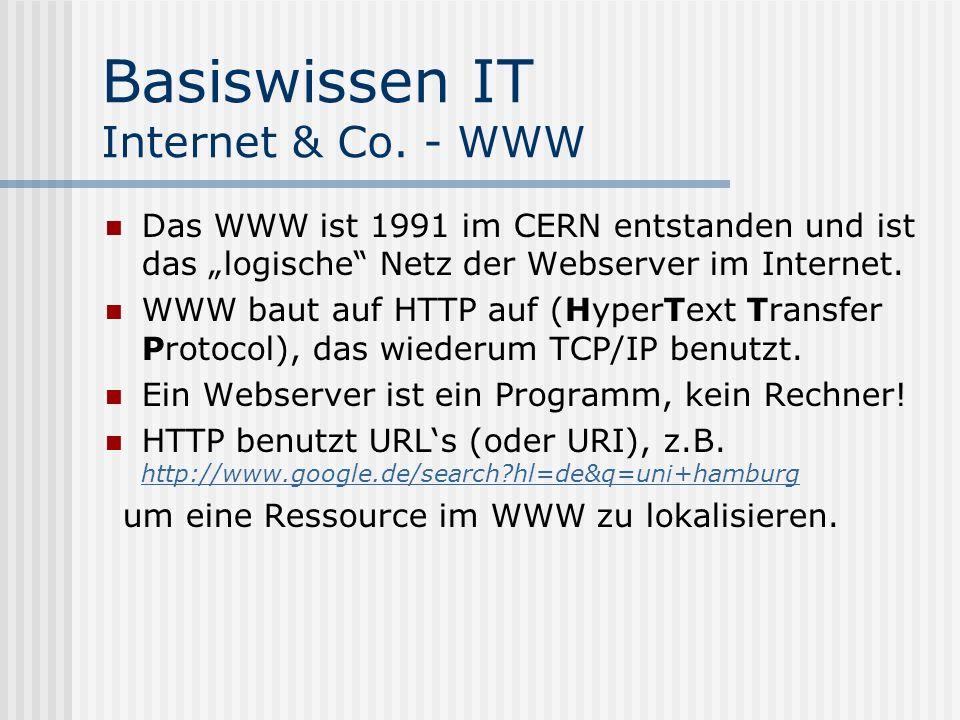 Basiswissen IT Internet & Co. - WWW Das WWW ist 1991 im CERN entstanden und ist das logische Netz der Webserver im Internet. WWW baut auf HTTP auf (Hy