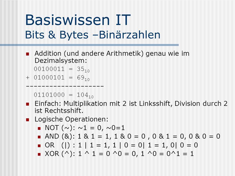Basiswissen IT Bits & Bytes –Binärzahlen ma Addition (und andere Arithmetik) genau wie im Dezimalsystem: 00100011 = 35 10 + 01000101 = 69 10 -------------------- 01101000 = 104 10 Einfach: Multiplikation mit 2 ist Linksshift, Division durch 2 ist Rechtsshift.