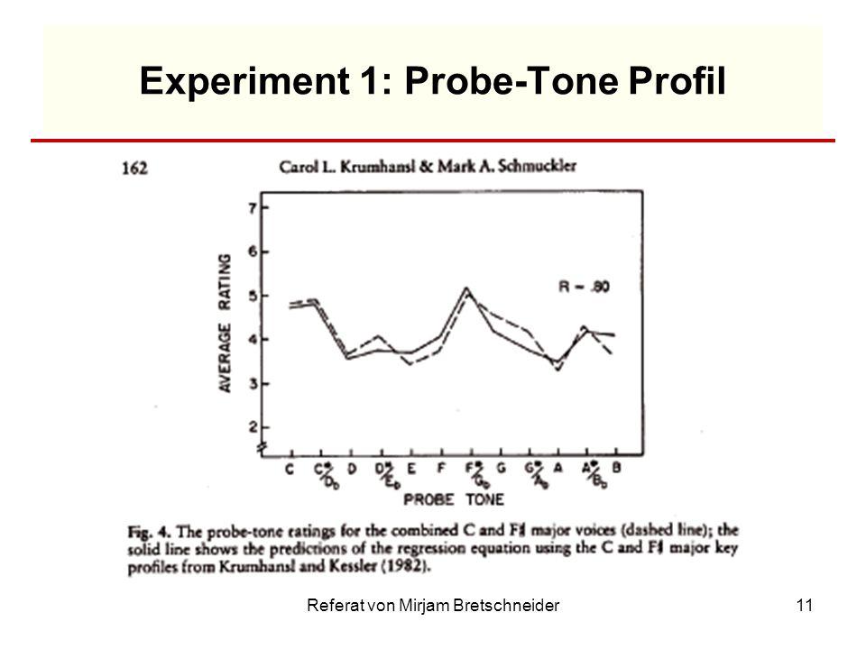 Referat von Mirjam Bretschneider11 Experiment 1: Probe-Tone Profil