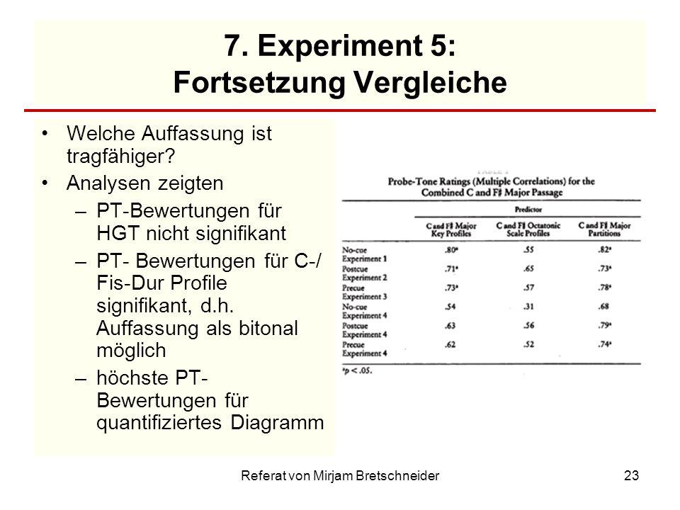 Referat von Mirjam Bretschneider23 7. Experiment 5: Fortsetzung Vergleiche Welche Auffassung ist tragfähiger? Analysen zeigten –PT-Bewertungen für HGT