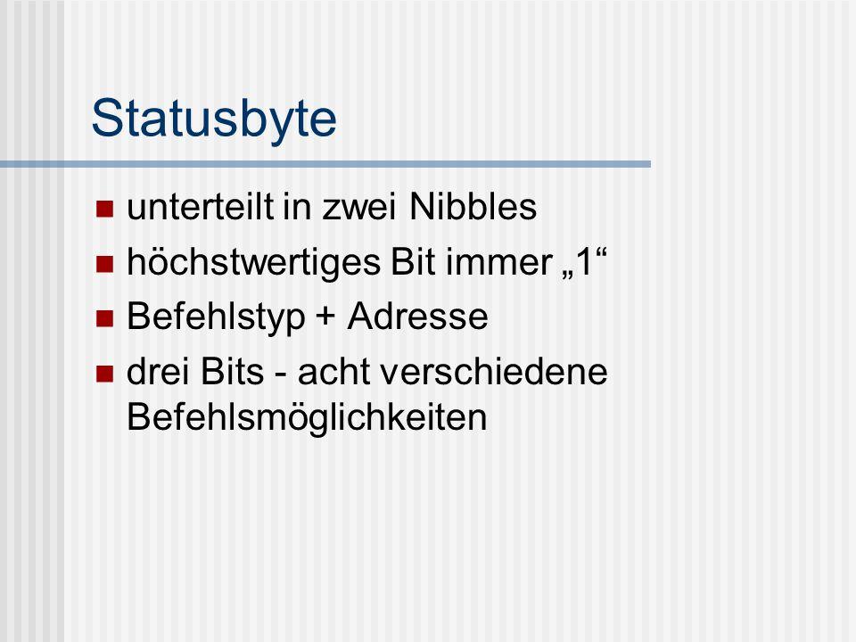 Statusbyte unterteilt in zwei Nibbles höchstwertiges Bit immer 1 Befehlstyp + Adresse drei Bits - acht verschiedene Befehlsmöglichkeiten
