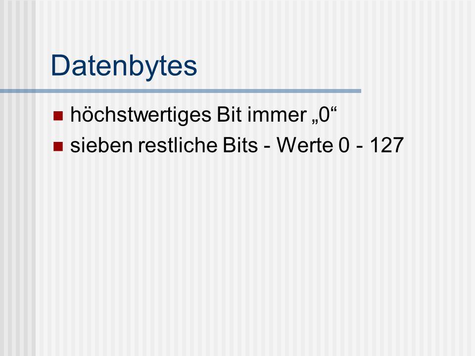 Datenbytes höchstwertiges Bit immer 0 sieben restliche Bits - Werte 0 - 127