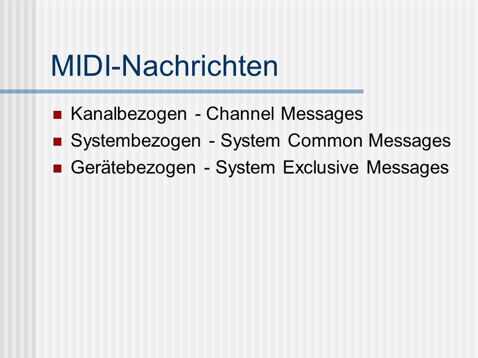 MIDI-Nachrichten Kanalbezogen - Channel Messages Systembezogen - System Common Messages Gerätebezogen - System Exclusive Messages