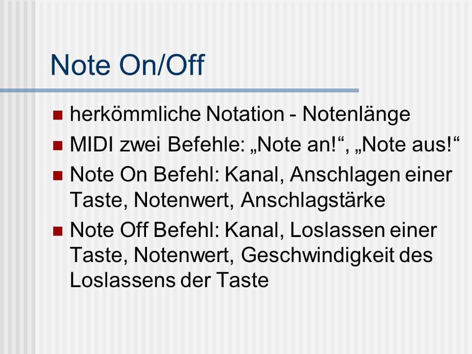 Note On/Off herkömmliche Notation - Notenlänge MIDI zwei Befehle: Note an!, Note aus.