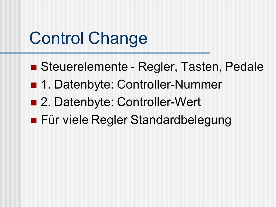 Control Change Steuerelemente - Regler, Tasten, Pedale 1.