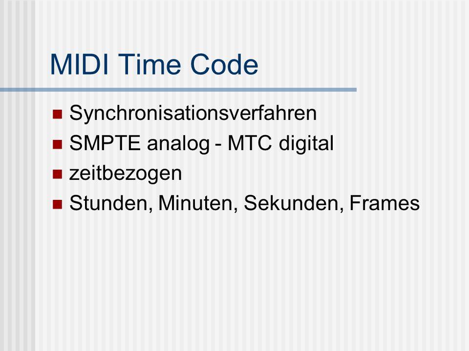 MIDI Time Code Synchronisationsverfahren SMPTE analog - MTC digital zeitbezogen Stunden, Minuten, Sekunden, Frames