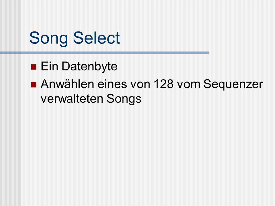 Song Select Ein Datenbyte Anwählen eines von 128 vom Sequenzer verwalteten Songs