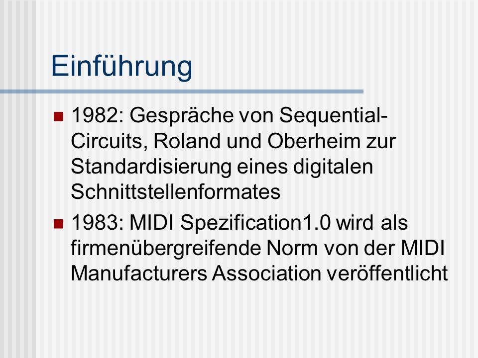 Einführung 1982: Gespräche von Sequential- Circuits, Roland und Oberheim zur Standardisierung eines digitalen Schnittstellenformates 1983: MIDI Spezification1.0 wird als firmenübergreifende Norm von der MIDI Manufacturers Association veröffentlicht