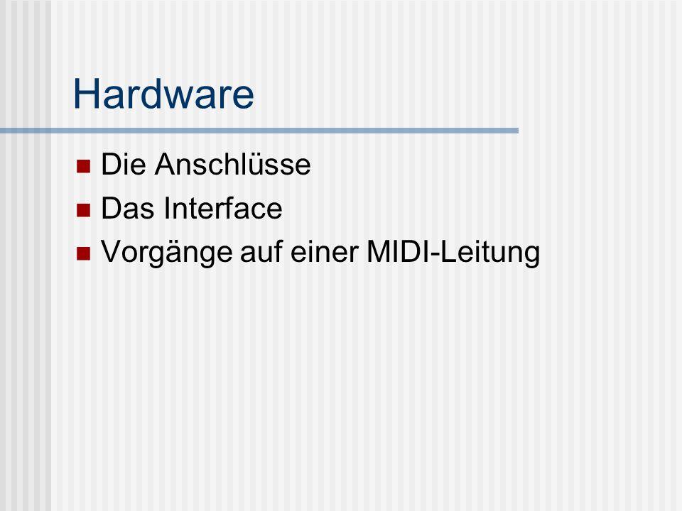 Hardware Die Anschlüsse Das Interface Vorgänge auf einer MIDI-Leitung