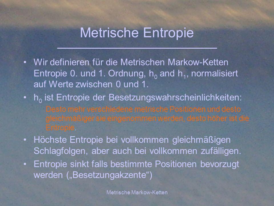 Metrische Markow-Ketten Metrische Entropie Wir definieren für die Metrischen Markow-Ketten Entropie 0. und 1. Ordnung, h 0 and h 1, normalisiert auf W