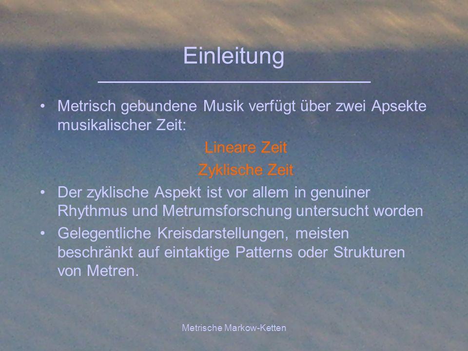 Metrische Markow-Ketten Einleitung Metrisch gebundene Musik verfügt über zwei Apsekte musikalischer Zeit: Lineare Zeit Zyklische Zeit Der zyklische As