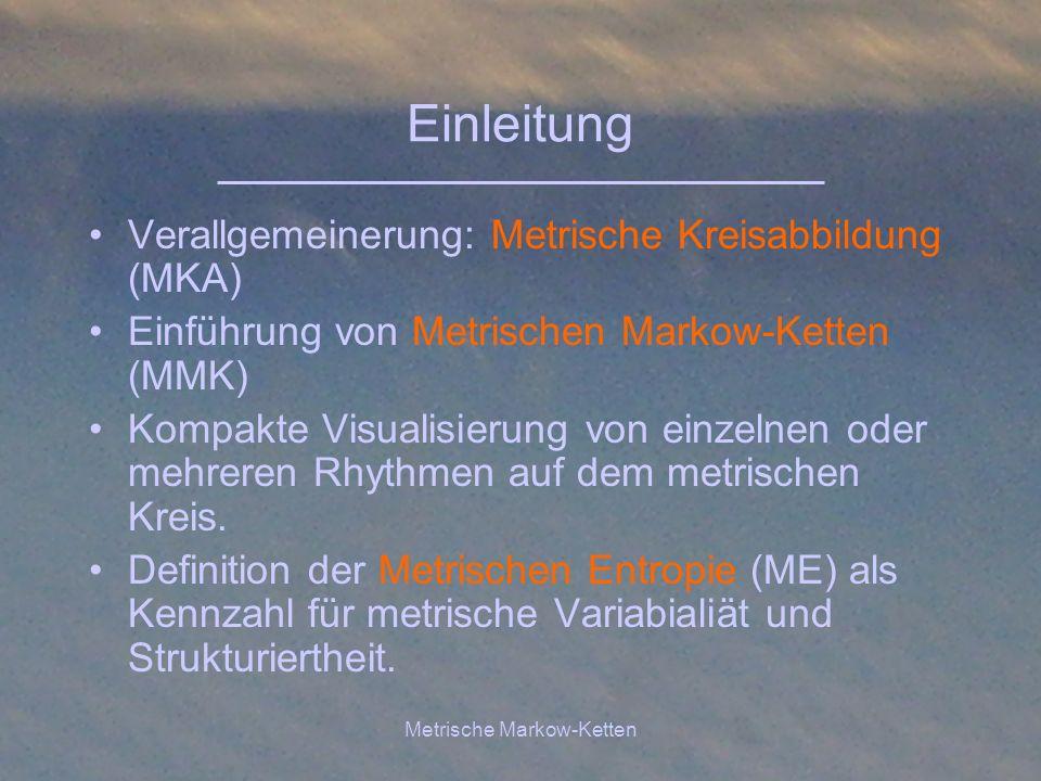 Metrische Markow-Ketten Metrische Kreisabbildung Rhythmen darsgestellt als streng monoton- wachsende Folge von Zeitpunkten t i Annahme hier: Metrische Rhythmen mit Taktlänge T.